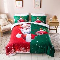 Klassische Frohe Weihnachten Wagen-Muster 3Pcs / Set-Drucken-Bettwäsche-Sets Weiche 100% Baumwolle Bettwäsche Bettwäsche Outlet