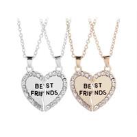 Ожерелье лучших друзей на 2 BFF Ожерелье с разбитым сердцем Золотой горный хрусталь