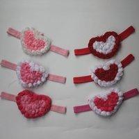 20pcs 9cm şifon kızlar saç aksesuarları, Sevgililer Günü 4 renkler için şifon kalp baş bantlarında rozet kalp çiçek