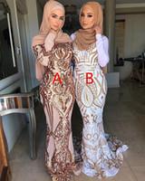 Muçulmano Manga Comprida Sereia Vestidos de Baile 2019 Novo Dois Estilo Até O Chão Applique Vestido de Noite Formal Vestidos de Festa Custom Made