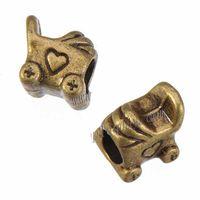 Perlen-Charme für DIY Schlange-Ketten-Armbänder Retro-Silber-Kinderwagen-Herz-losen großen Loch-Metallschmuck 10 * 9 * 8mm 100pcs
