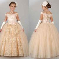 2020 Champagne economici principessa ragazze di fiore abiti per sposa fuori dalla spalla Pizzo Tulle Puffy Partito Giovani Birthday Girl Pageant abiti