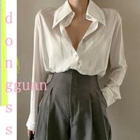 أنيق بلينغ بيضاء شيفون قميص المرأة طويلة الأكمام الصلبة الأبيض مكتب بلوزة بلايز البلوزات blusas