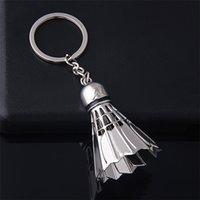 무료 배송 BY DHL의 100PCS / 많은 금속 배드민턴 모양의 열쇠 고리 참신 볼 열쇠 고리 스포츠 선물