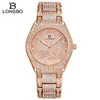 2020 Longbo高級ラインストーンブレスレットウォッチ女性ダイヤモンドファッションレディースローズゴールドドレスウォッチステンレス鋼クリスタル腕時計