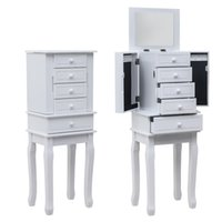Waco classe bijoux armoire, meubles de rangement à la chambre à coucher, 5 tiroirs 14 crochets colliers avec miroir, 2 portes pivotantes latérales, bijouterie Organizer Cabinet de tablette - Blanc
