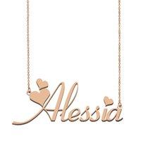 Alessia Namenshalsketten-Anhänger für Frauen-Mädchen-Geburtstags-Geschenk Individuellen Typschild Kinder Beste-Freunde-Schmucksachen 18k Gold überzogener Edelstahl