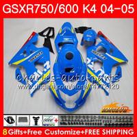 Carrosserie pour SUZUKI GSXR 750 GSX R750 GSXR600 GSXR600 04 05 7HC.0 GSXR750 GSXR 600 04 05 K4 GSXR750 2004 2005 Kit Carénage nouveau bleu usine