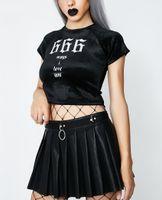 Лето 2018 года Crop Top Топ Harajuku Punk Rock Футболка 666 Ways I Love You с принтом Бархатная укороченная футболка Черные женщины с коротким топом Y19072601