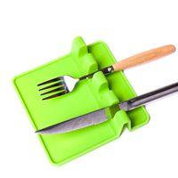 3 Color Utensilios de cocina Resto crisol cuchara Pan tapa de la olla de la pala del sostenedor de la categoría alimenticia de silicona Herramientas estante gris y verde envío B 25PCS