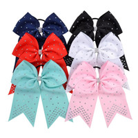 7 pouces JOJO cheveux corde bébé filles bonbons couleur Cheer Fish Tail Bows Band cheveux Bandeaux Polyester Ruban enfants Accessoires cheveux E22102