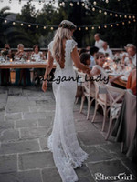 Старинные крючком кружева Русалка свадебные платья 2019 ретро Cap рукавом спинки полная длина хлопка Boheian хиппи труба свадебное платье