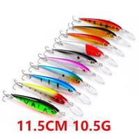 10-Farben-11.5cm 10.5g Minnow-harter Plastikköder Köder Angelhaken 6 # Haken Pesca Angelgerät Zubehör WL-1