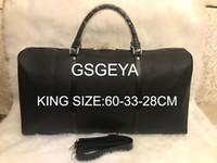 KRAL BOYUTU 60 CM Duffel Çanta 2018 yeni moda erkekler kadınlar seyahat çantası spor çantası, deri bagaj çanta büyük kapasiteli spor çantası