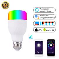 WiFi ضوء المصباح الذكي ذكي ملون مصباح LED 7W RGBW 85-265V التطبيق التحكم عن بعد يعمل مع Alexa Google ل Smart Home E27 E26