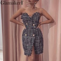 Glamaker Tweed Black short party club dress Women autumn sleeveless elegant bodycon dress Female v neck sexy winter mini