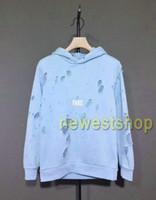 2021 Winter Europa Paris Hoodies Kleidung Herren Klassisch Blau Big Broken Hole Sweatshirt Frauen Mode Jumper Designer Hoodie
