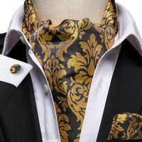 Hızlı Kargo Ascot erkek Klasik Siyah Sarı Çiçek Cravat Vintage Ascot Mendil Manşetleri Mens Düğün Parti AS-1007 Için Cravat Set