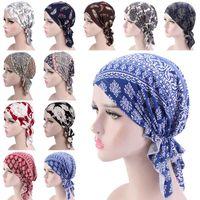 Papas de ciclismo Máscaras para mujer Musulmán Hijab Cancer Cumo Flower Print Hat Turban Cap Cover Pelo Bufanda Wrap Pre-atado Headwear Impreso Bandana