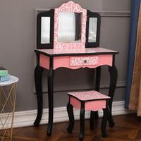Moderno estilo Tri-dobrável Espelho Vaity Set 1Drawer Crianças Povo Make Make Makeup Desk Stool Vermelho Leopard Imprimir