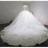 Урожай Sequined кружева аппликация 3D Цветы бальное платье Wedidng платья Luxury Plus Размер Саудовская Аравия Дубай Дубай свадебное платье на заказ