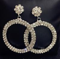 joyería pendientes de aro de cristal brillando flor de cristal estudios pendientes simples para las mujeres de moda caliente libre del envío