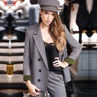 Abiti da donna Blazer Blazer Ufficio Formali Pantaloni da donna Vestito per lavoro aziendale Elegante Plaid Plaid Doppi Bresetted Giacca Blazer Blazer Due pezzi PANT