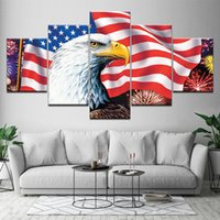 Moderna 5 pannello American Eagle bandiera della tela di canapa pittura Wall Art modulare Stampato poster camera da letto Living Room Decor Picture murale