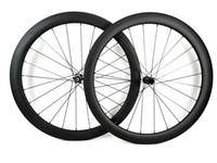 700C 50MM عمق الطريق قرص الفرامل عجلات الكربون 25MM عرض الدراجة الفاصلة / العجلات الكربون أنبوبي مع NOVATEC 411/412-CL محور U- شكل حافة