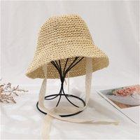 Летняя детская соломенная шляпа Корея солнцезащитный крем ВС кружева кружева мужчины и женщины ребенок рыбак шляпа Оптовая HN316