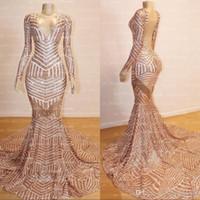 Árabe Vintage Rose Oro vestidos de baile V sirena del cuello de manga larga ver a través de espalda abierta vestidos de noche