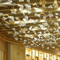 Murano cam Yaprak Avize Lambalar Cam Sanatı Yüksek Tavan Sanat Dekor için Işık Ev Büyük Lobi Otel Yeşillik Avize Aydınlatma