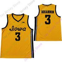 2020 Nova NCAA Iowa Hawkeyes Jerseys 3 Bohannon College Basquete Jersey Tamanho Juventude Adulto Amarelo All Stitched