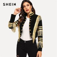 SHEIN Lady Fringe Patched metallizzato a doppio petto Stripe Black Gothic Jacket Women Autumn Stand Collar Cropped Jacket