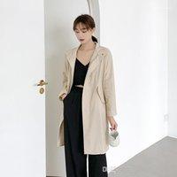Sleee Yaka Boyun Katı Renk Kadın Giyim Casual Ol SytleOuterwear Kadın Sonbahar Desinger Hendek Coats Uzun