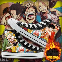 WHOHOLL Hommes Femmes Anime unisexe Imprimer Chaussures velours toile design Anime One Piece Luffy High Top Sneakers en toile Souliers simple