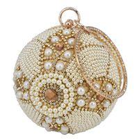 تصميم الذهب الكرة wristlets حقيبة المرأة الفضة مطرز بيرل البسيطة حمل حقيبة سلسلة سيدة الزفاف العرسان مساء محفظة مخلب حقيبة محفظة