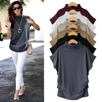 Women Casual T Shirt Short Batwing Sleeve Loose Tops Solid B...
