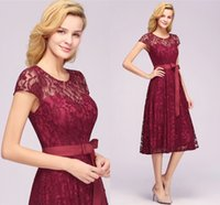 Burgundy Tea Length Lace Evening Prom Dresses Womens Cheap Short Cap Sleeves Scoop Neck Christmas Party Cocktail Dress with Sash CPS1152