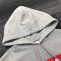 Moda- The Face Red Logo Grey Hoodies impresso camisola Casal Casual Rua exterior Made in Italy Fashion Desportivo Hoodies HFHLWY016