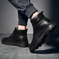Hot Sale-Men's Snow Boots 2019 British plush Warm Boots Handsome Stylish Lace-Up ankle outdoor Motorcycle