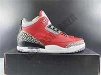 2020 Jumpman 3 3S أحمر الاسمنت الأحمر أحذية كرة السلة الرجل يتوقع OG للعودة حقيقي جلدي حذاء رياضة مع صندوق CK5692 -600