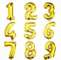 32 o 16 pulgadas Feliz cumpleaños Celebración Celebración Decoración de globo Recubrimiento de aluminio Número de globo 0 a 9 Globo Plata y Color Dorado