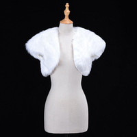 White Wedding Bolero Faux Fur Bridal Wraple Giacca Wrap Giacca Inverno Sera Party Manica Corta Shrug Bolero Cappotto Accessorio femminile CPA1274