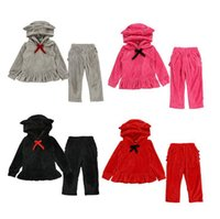 Baby Girls Vêtements Enfants Velvet Suites De Velvet Tenue Sweats Pulls Pantalons Pantalons Pantalons Ensembles Bow Enfants Vêtements à volants Ensemble Candy D6260