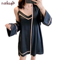 Fdfklak Женщины халат шелк из двух частей комплекта пижамы женские сексуальные халаты с v-образным вырезом комплекты весна-осень халаты женские пижамы халат