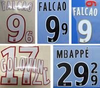 Mónaco impresión en blanco de nombres de fútbol FALCAO GOLOVIN MBAPPE jugador de fútbol estampado letras impresas plástico fútbol pegatinas insignias