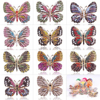 Fashion Colorful Rhinestones Brooches Alloy Plating Butterfl...