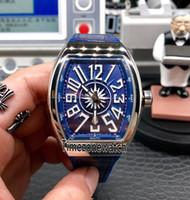 جديد الطليعة S6 يخوت التسجيل V45 SC DT YACHTING OG الأزرق الهاتفي التلقائية الرجال ووتش الصلب حالة الأزرق جلد / المطاط الساعات Timezonewatch