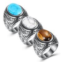 Cluster Ringe Schmuck Marke Neue Mode Vintage Hochwertige Türkis Finger Ringe Großhandel Edelstahl Geschnitzte Ringe LR044